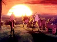 Les cinq dans le coucher de soleil