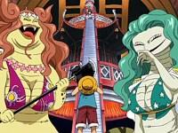 Duel compliqué pour Luffy ! Le pouvoir du fluide des sœurs Gorgone